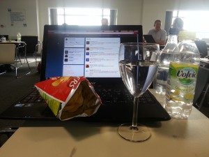 Complimentary crisps and flavoured water